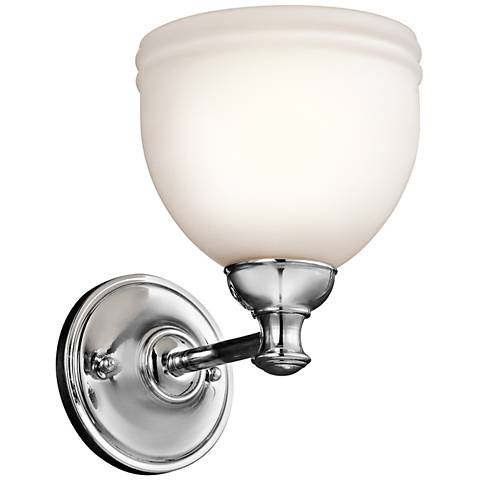 "Kichler Marana Satin Glass 8 1/2"" High Chrome Wall Sconce"