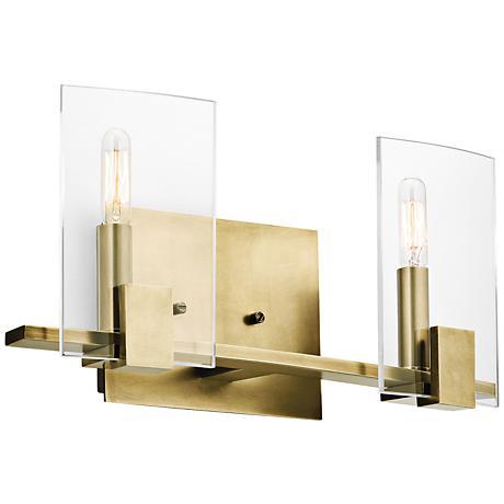 "Kichler Signata 16"" Wide 2-Light Natural Brass Bath Light"