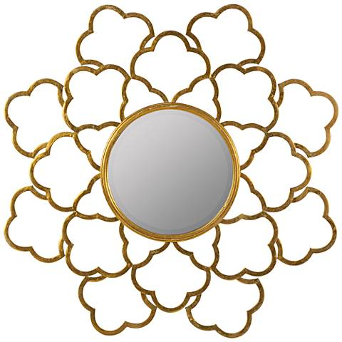 """Kehoe Shimmering Gold 36""""x36"""" Decorative Wall Mirror"""