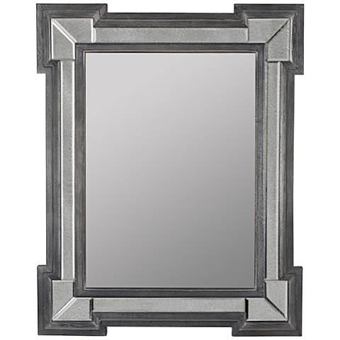 """Hailey Gray Washed Wood 31 1/2""""x39 1/2"""" Floor Mirror"""