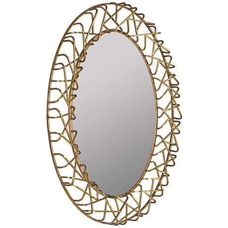 "Orson Gold Leaf 31""x42"" Decorative Oval Wall Mirror"