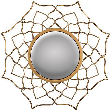 """Konya Aged Gold 22""""x22"""" Decorative Convex Wall Mirror"""