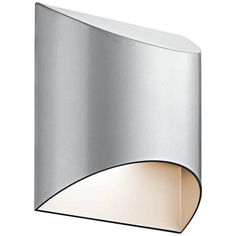"""Kichler Wesley 7 1/2""""H LED Platinum Outdoor Wall Light"""