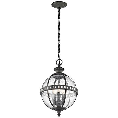 "Kichler Halleron 18 1/2""H Seedy Glass Outdoor Hanging Light"