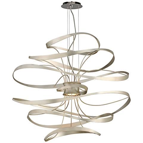 "Corbett Calligraphy 34"" Wide Silver Leaf LED Pendant Light"