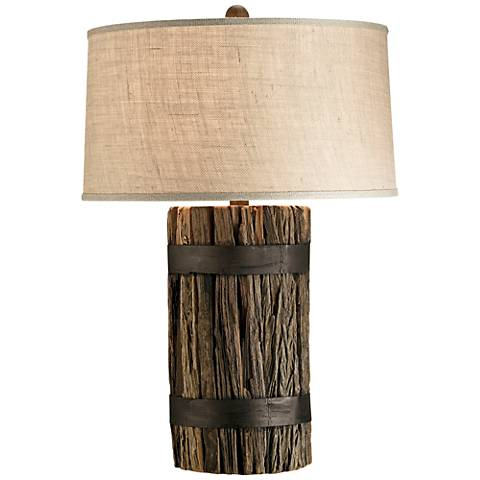 Currey and Company Wharf Rustic Natural Wood Table Lamp