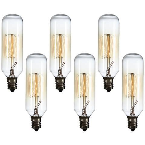 6-Pack 60 Watt T8 Edison Style Candelabra Tube Light Bulbs