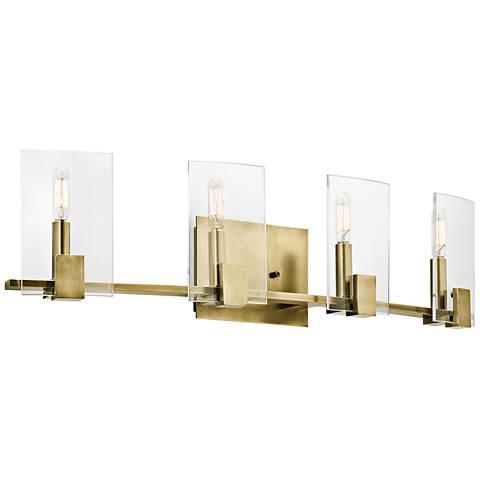 "Kichler Signata 30"" Wide 4-Light Natural Brass Bath Light"
