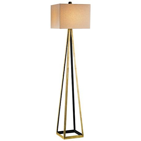 Currey and Company Bel Mondo Gold and Black Floor Lamp