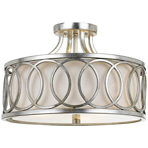 "Crystorama Graham 15"" Wide Antique Silver Ceiling Light"