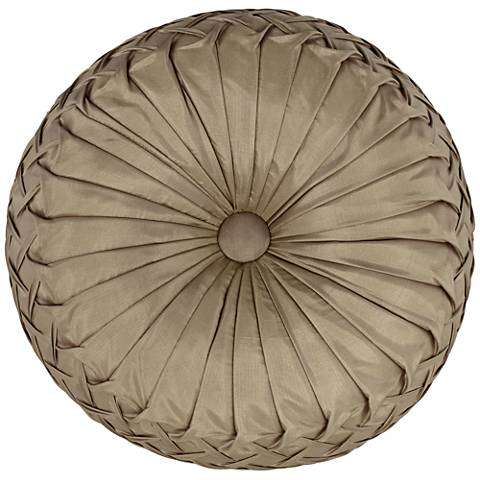 "Gray Ruched Tufted 14"" Round Decorative Pillow"