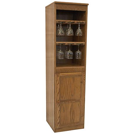 Hayes Valley Dry Oak Veneer 1-Door Wine Cabinet