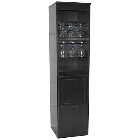 Hayes Valley Espresso Maple Veneer 1-Door Wine Cabinet