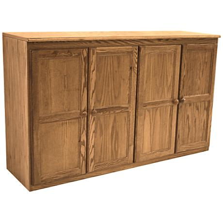 Kelby Dry Oak Veneer 4-Door Multi Storage Cabinet