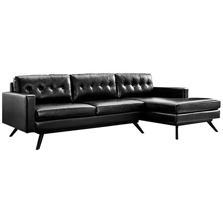 Blake Black Right Hand-Facing Sectional Sofa with Chaise