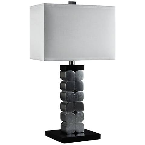 Corinthian Hand-Applied Silver Leaf Table Lamp