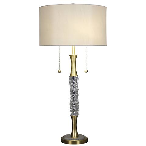 Crushed Crystal Glass Ice Satin Brass Table Lamp