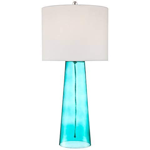 Marcus Blue Glass Tapered Column Table Lamp