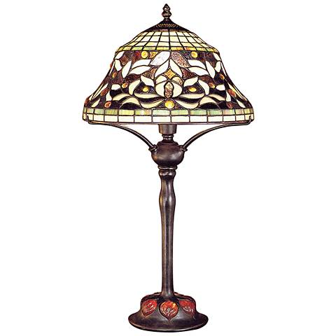 Floating Leaf Tiffany Stained Glass Shade Table Lamp