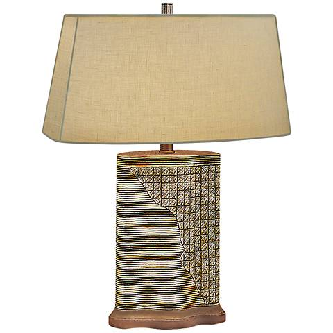 Woven Wicker Hand-Painted Brown Table Lamp