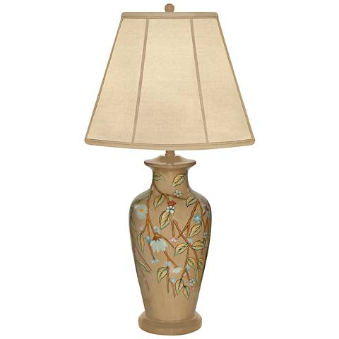 Trailing Vine With Flower Hand-Painted Porcelain Table Lamp