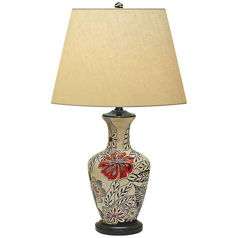 Fall Garden Hand-Painted Red Black Porcelain Table Lamp