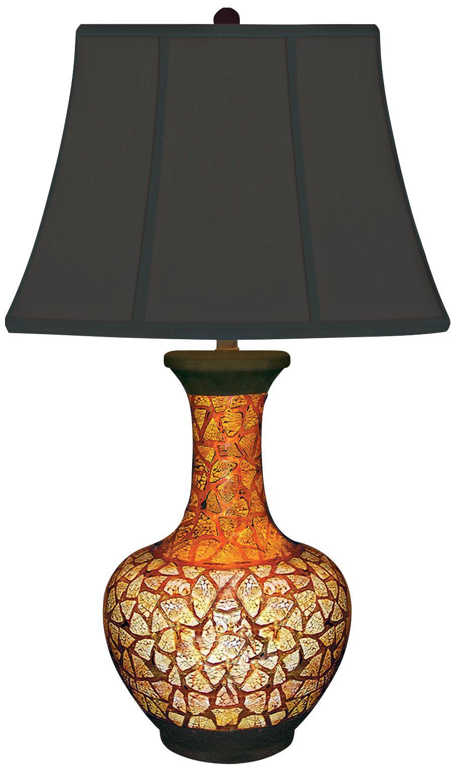 Eggshell Red And Black Porcelain Urn Table Lamp
