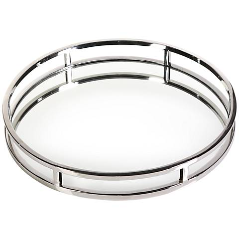 "Clare Polished Nickel 16"" Round Decorative Mirrored Tray"