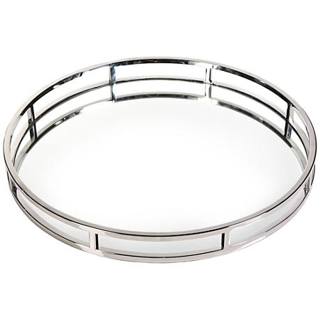 """Clare Polished Nickel 20"""" Round Decorative Mirrored Tray"""