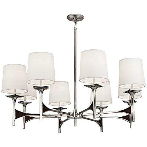 "Robert Abbey Trigger 42"" Wide Polished Nickel Chandelier"