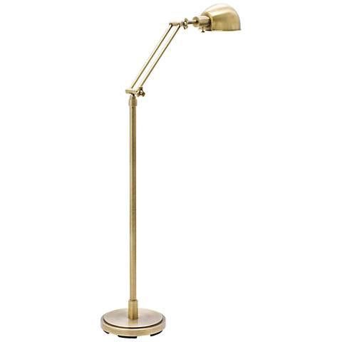 troy addison adjustable antique brass floor lamp 8w875 lamps plus. Black Bedroom Furniture Sets. Home Design Ideas