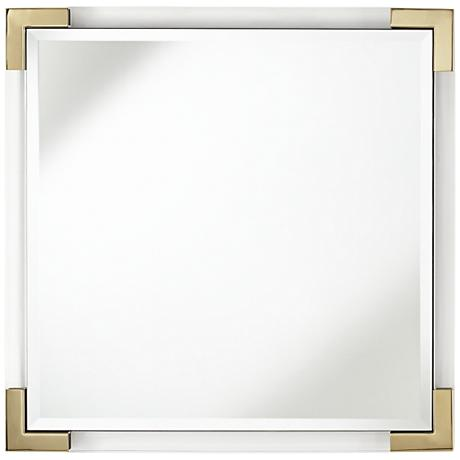 """Hardtner Brass and Acrylic 21 1/2"""" Square Wall Mirror"""