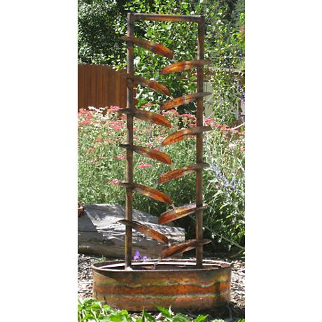 "The Water Trellis 48""H Hand-Made Copper Garden Fountain"