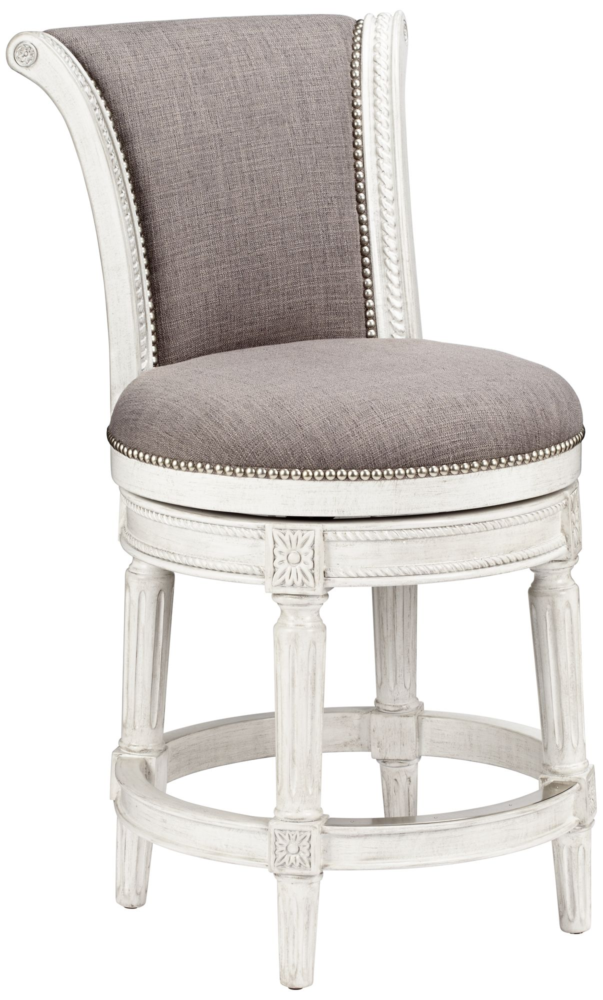 Chloe 24  Pewter Fabric Scroll-Back Swivel Counter Stool  sc 1 st  L&s Plus & Chloe 24