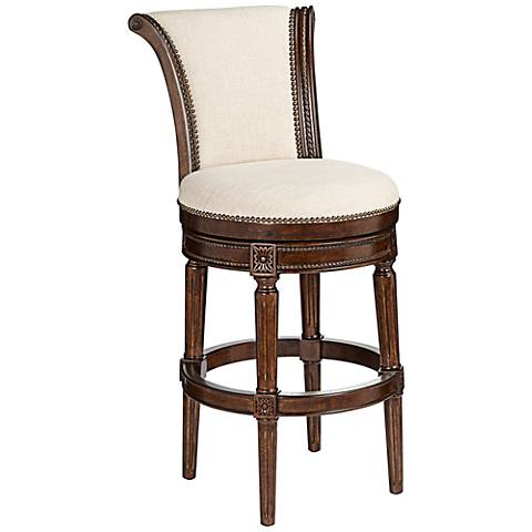 "Xander 24 1/2"" Cream Fabric Swivel Counter Stool"