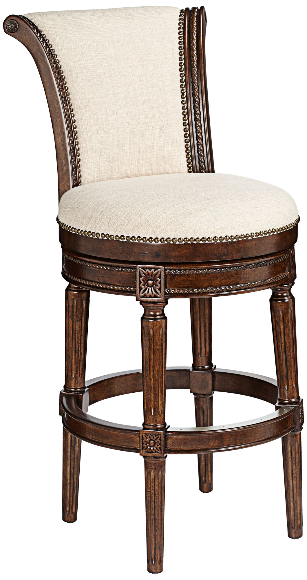 Xander 24 1/2  Cream Fabric Swivel Counter Stool  sc 1 st  L&s Plus & Footrest Barstools Seating | Lamps Plus islam-shia.org