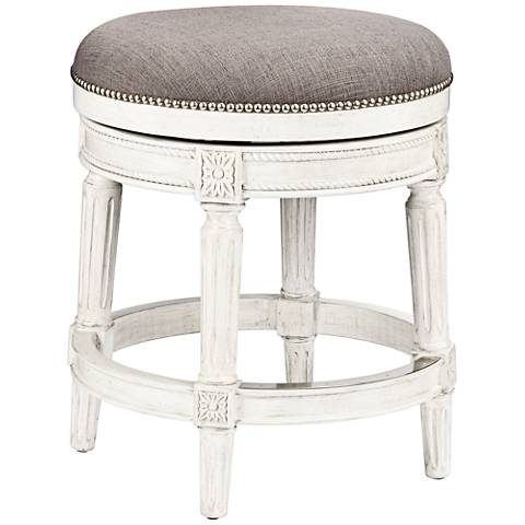 "Chloe 24"" Pewter Fabric Vintage Gray Swivel Counter Stool"