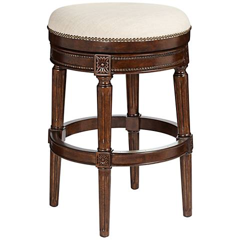 "Xander 24"" Cream Fabric Backless Swivel Counter Stool"