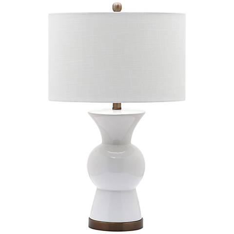 contemporary ceramic table lamp paired with a round white drum lamp. Black Bedroom Furniture Sets. Home Design Ideas