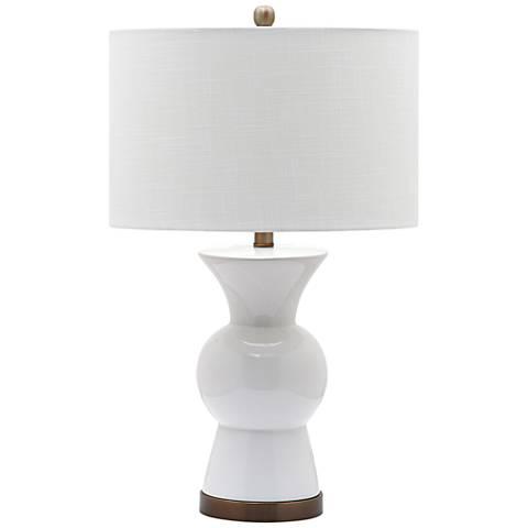 berkeley bright white ceramic table lamp 8x194 lamps plus. Black Bedroom Furniture Sets. Home Design Ideas