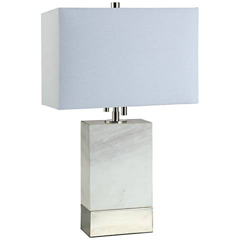 Rockport 20 High Rectangular White Marble Accent Table