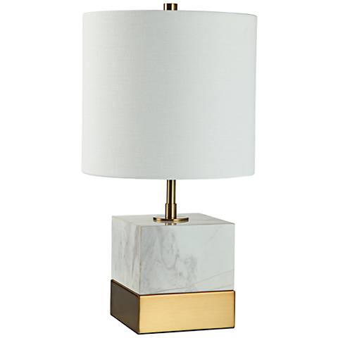 "Rockport 17 1/2""H Marble and Brass Square Accent Table Lamp"