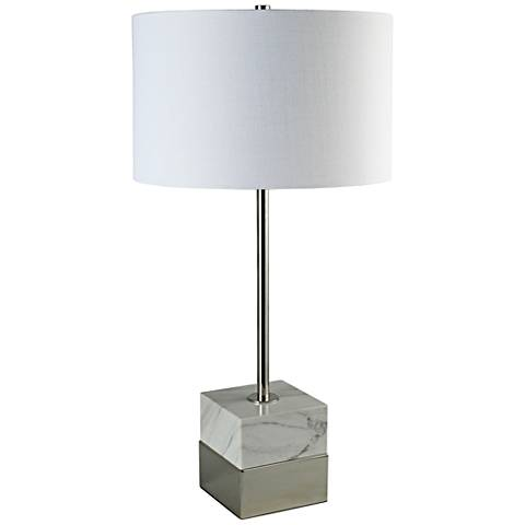 Rockport Tall Marble and Polished Nickel Square Table Lamp