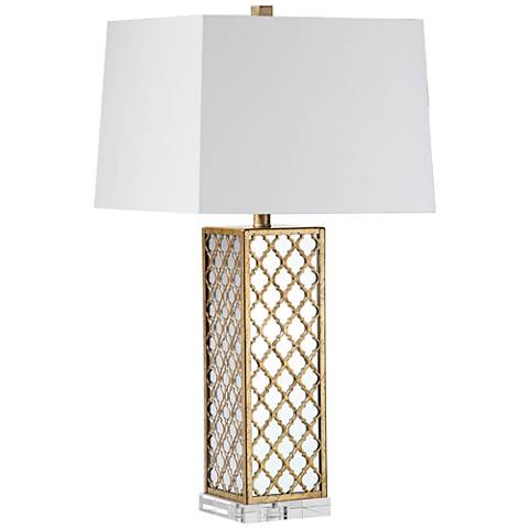 Odyssey Antiqued Bronze Quatrefoil Mirrored Table Lamp