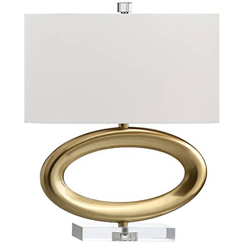 Gateway Horizontal Satin Brass Open Oval Accent Table Lamp