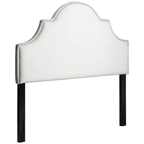 Trisha Nailhead Bella White Upholstered Queen Headboard