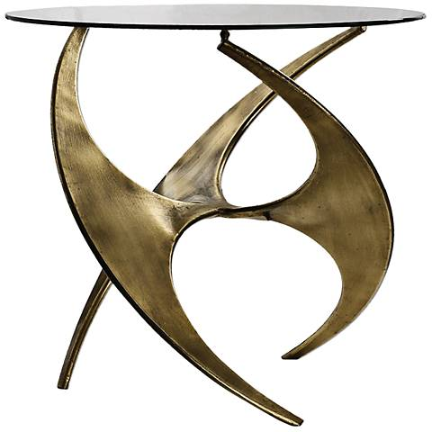 Uttermost Graciano Antique Gold Oval Glass Top Accent Table