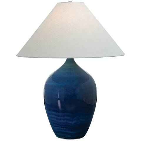 "Scatchard Stoneware 27"" High Glossy Blue Table Lamp"