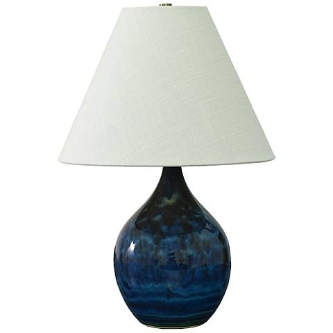 """Scatchard Stoneware 19"""" High Midnight Blue Accent Table Lamp"""