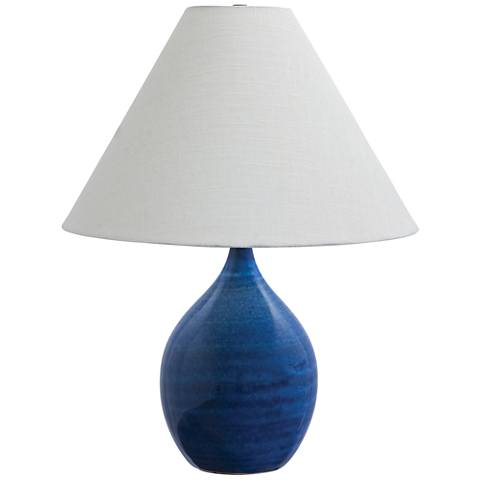 """Scatchard Stoneware 22 1/2"""" High Glossy Blue Table Lamp"""
